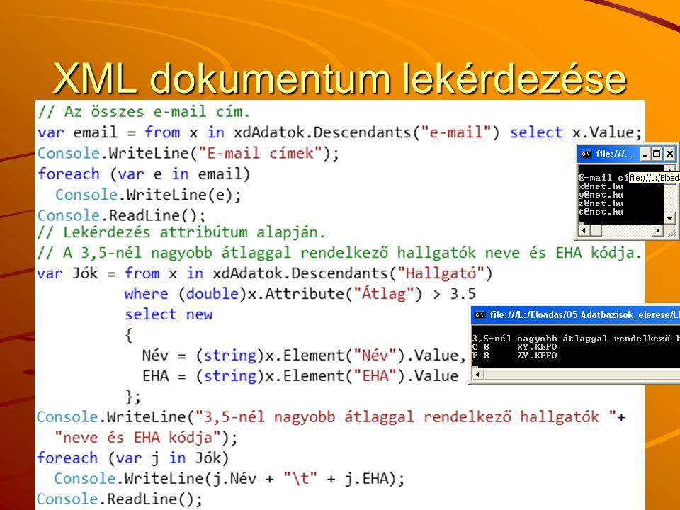XML dokumentum lekérdezése