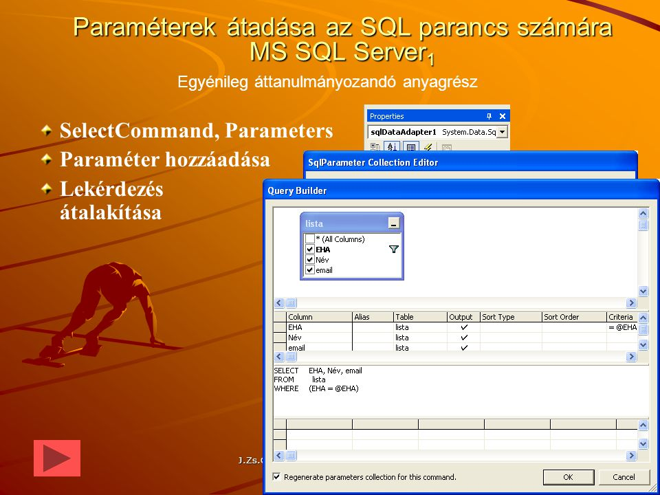 Paraméterek átadása az SQL parancs számára MS SQL Server1