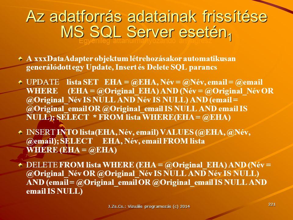 Az adatforrás adatainak frissítése MS SQL Server esetén1