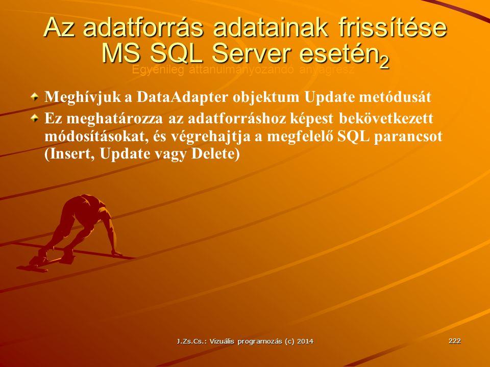 Az adatforrás adatainak frissítése MS SQL Server esetén2