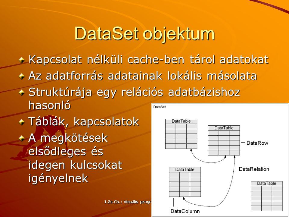 DataSet objektum Kapcsolat nélküli cache-ben tárol adatokat