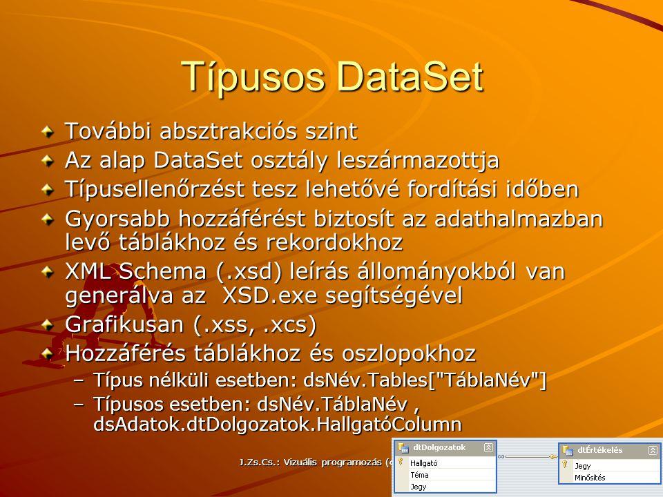 Típusos DataSet További absztrakciós szint