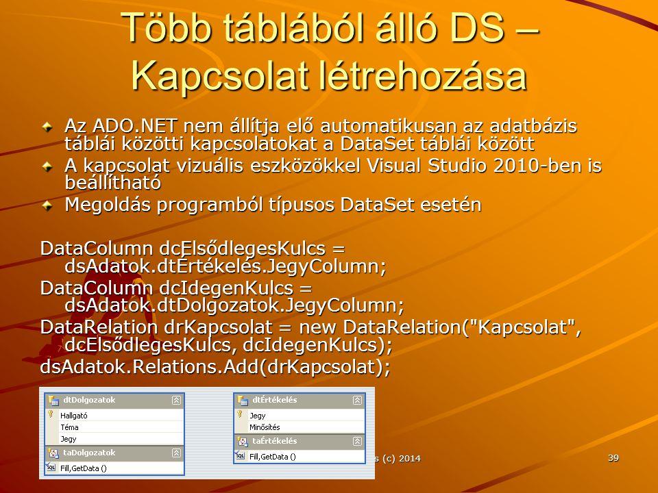 Több táblából álló DS – Kapcsolat létrehozása