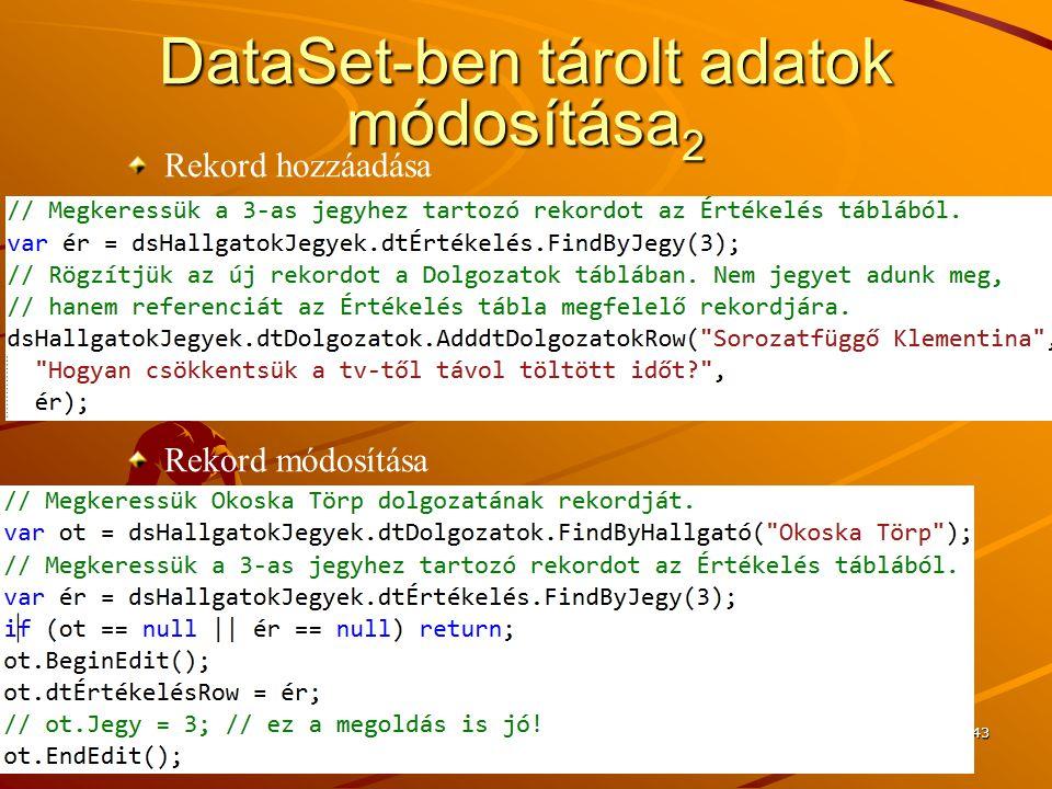 DataSet-ben tárolt adatok módosítása2