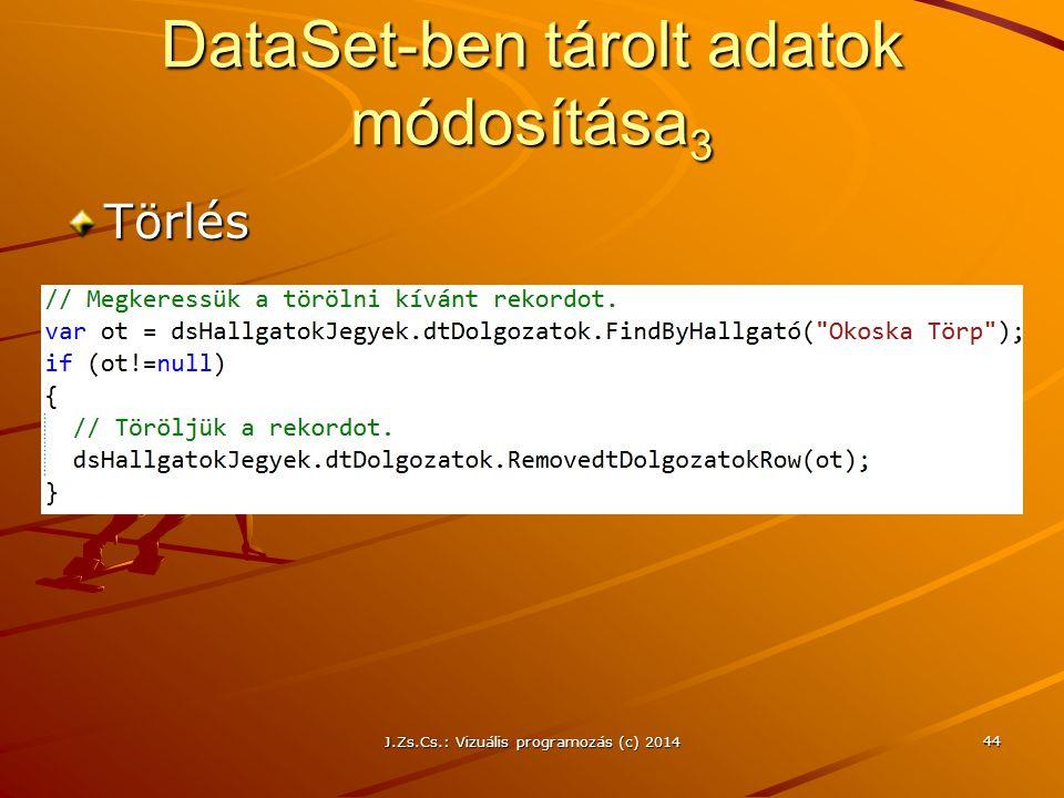 DataSet-ben tárolt adatok módosítása3