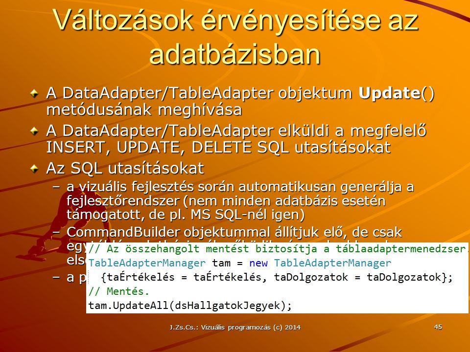 Változások érvényesítése az adatbázisban