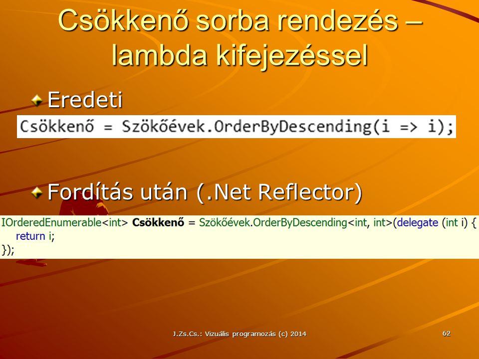 Csökkenő sorba rendezés – lambda kifejezéssel