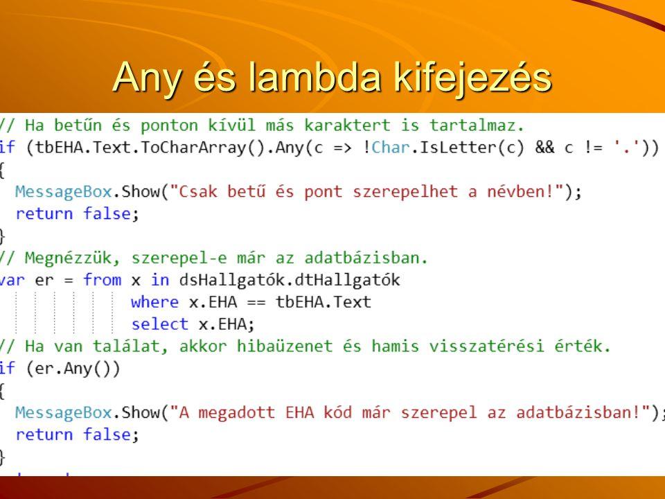 Any és lambda kifejezés
