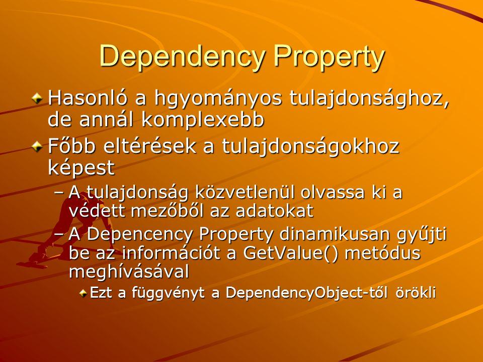 Dependency Property Hasonló a hgyományos tulajdonsághoz, de annál komplexebb. Főbb eltérések a tulajdonságokhoz képest.