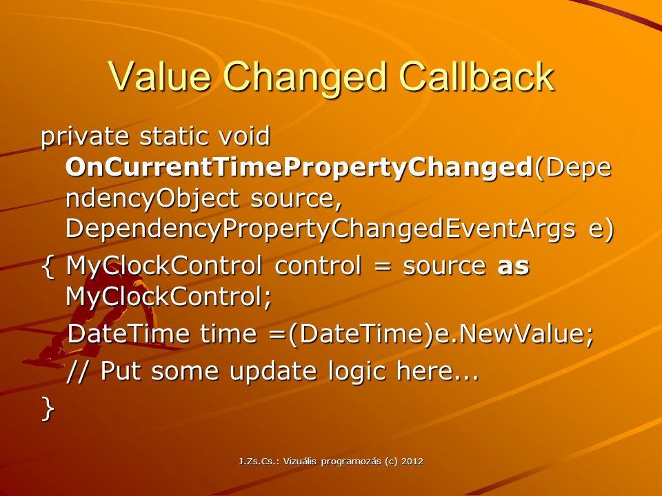 Value Changed Callback