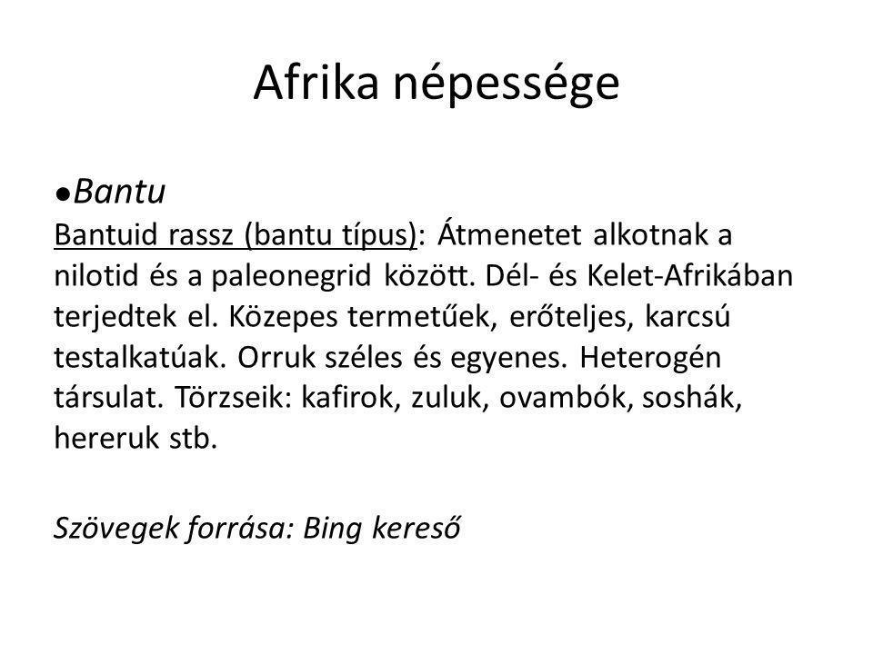 Afrika népessége Szövegek forrása: Bing kereső