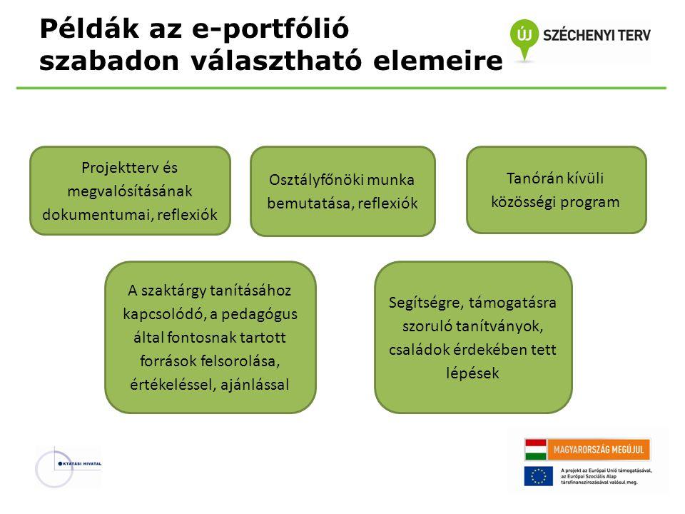 Példák az e-portfólió szabadon választható elemeire