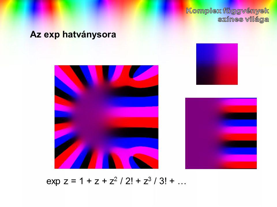 Az exp hatványsora exp z = 1 + z + z2 / 2! + z3 / 3! + …