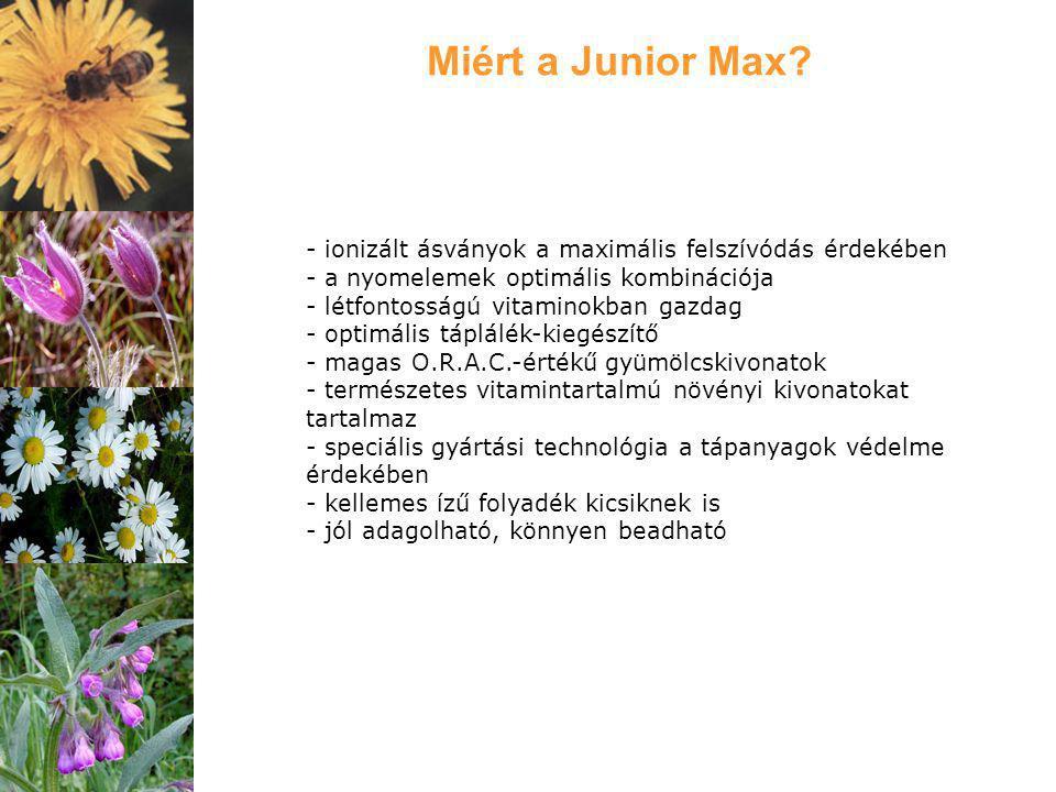 Miért a Junior Max - ionizált ásványok a maximális felszívódás érdekében - a nyomelemek optimális kombinációja.