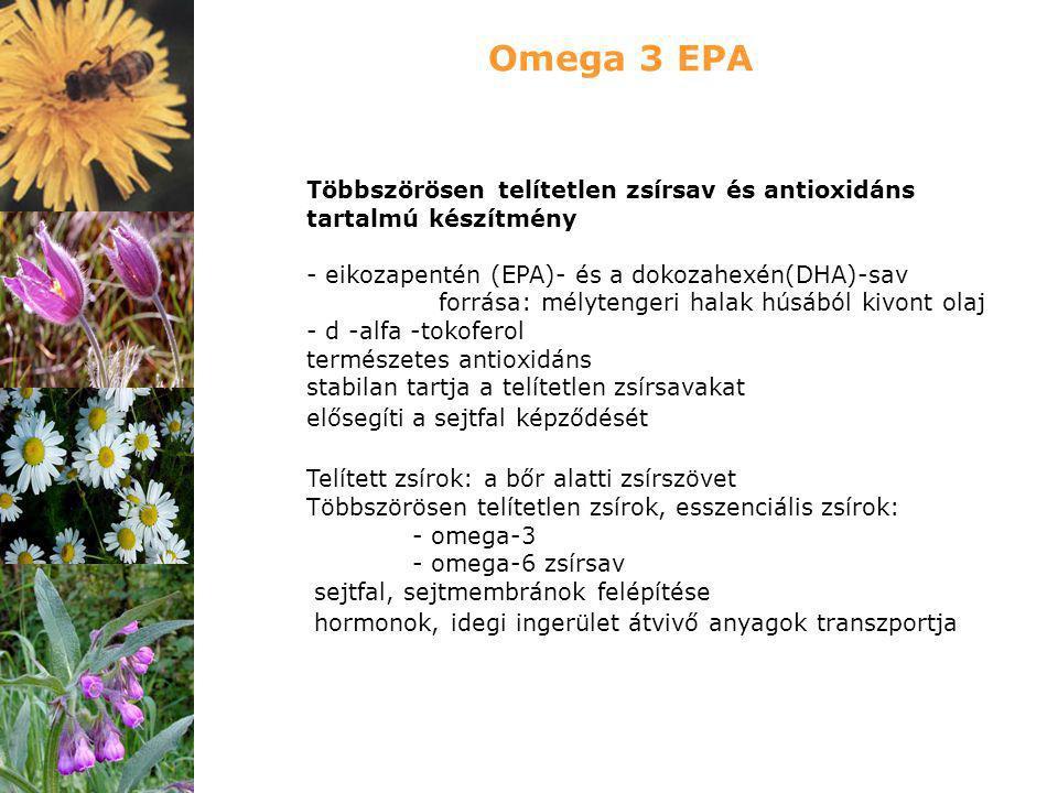 Omega 3 EPA Többszörösen telítetlen zsírsav és antioxidáns tartalmú készítmény. - eikozapentén (EPA)- és a dokozahexén(DHA)-sav.