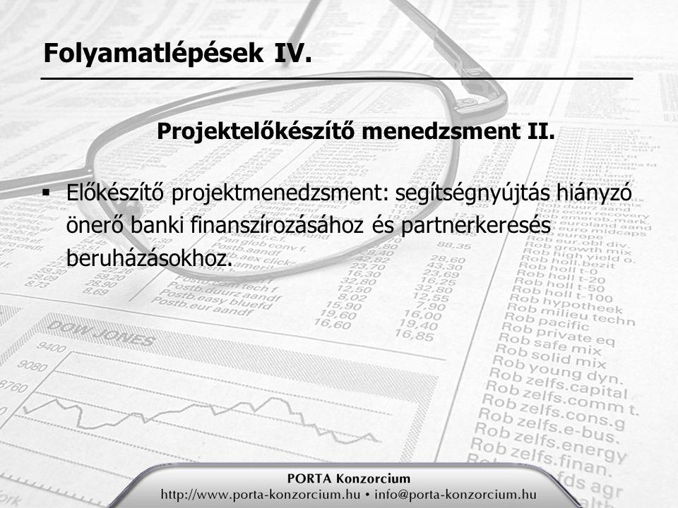 Projektelőkészítő menedzsment II.