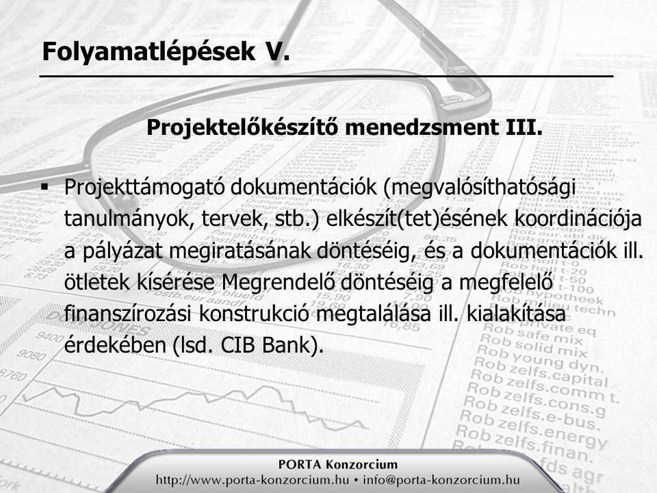 Projektelőkészítő menedzsment III.