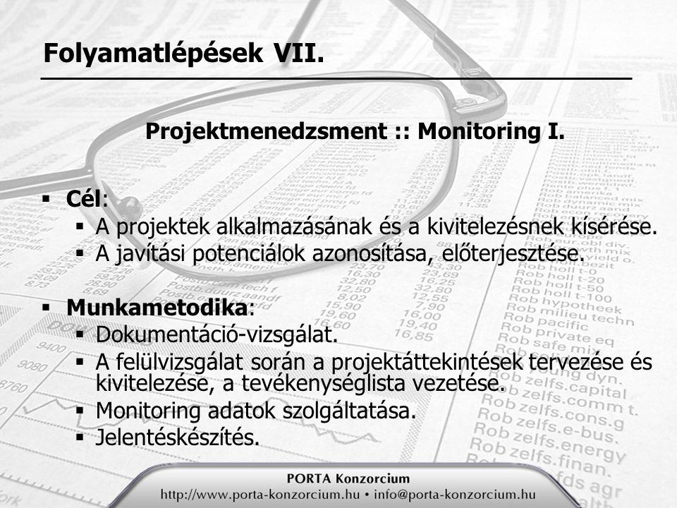 Projektmenedzsment :: Monitoring I.