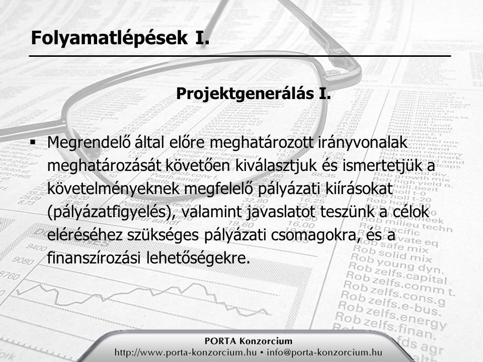 Folyamatlépések I. Projektgenerálás I.