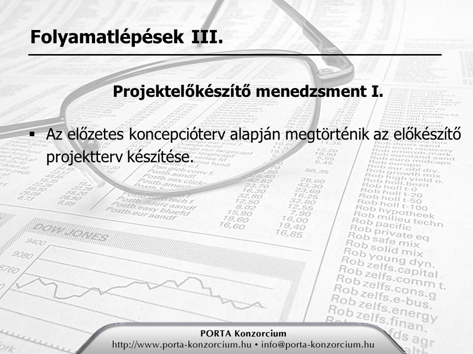 Projektelőkészítő menedzsment I.