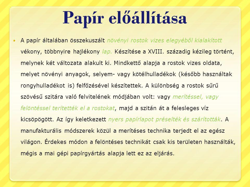 Papír előállítása