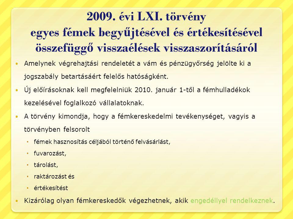 2009. évi LXI. törvény egyes fémek begyűjtésével és értékesítésével összefüggő visszaélések visszaszorításáról