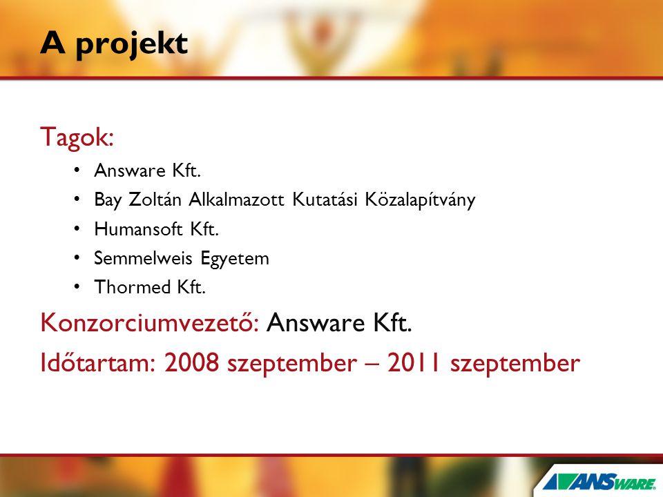 A projekt Tagok: Konzorciumvezető: Answare Kft.