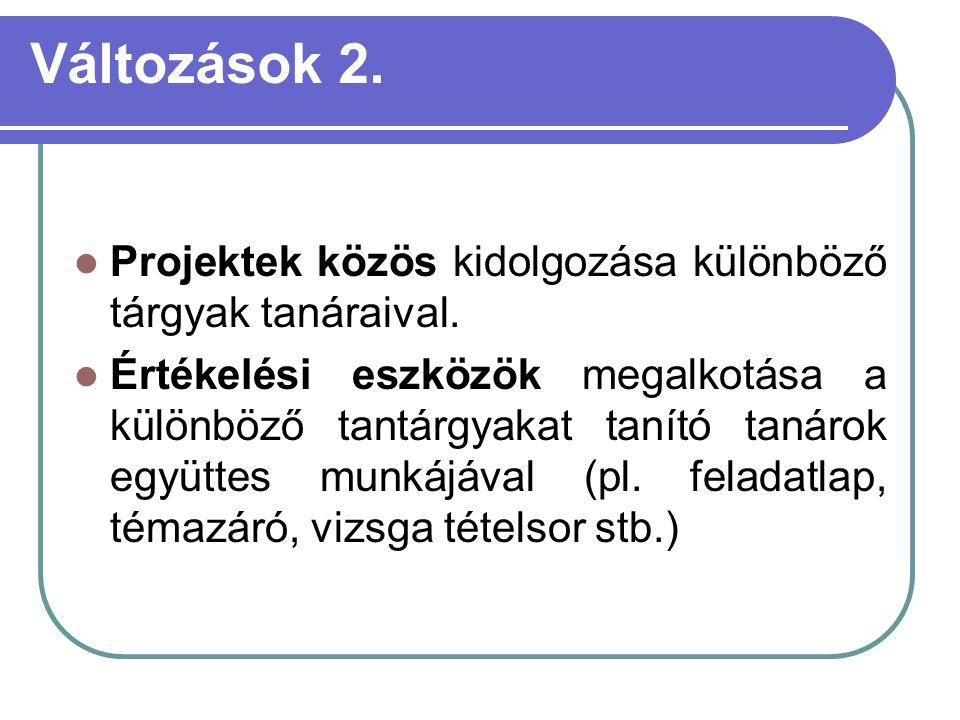 Változások 2. Projektek közös kidolgozása különböző tárgyak tanáraival.