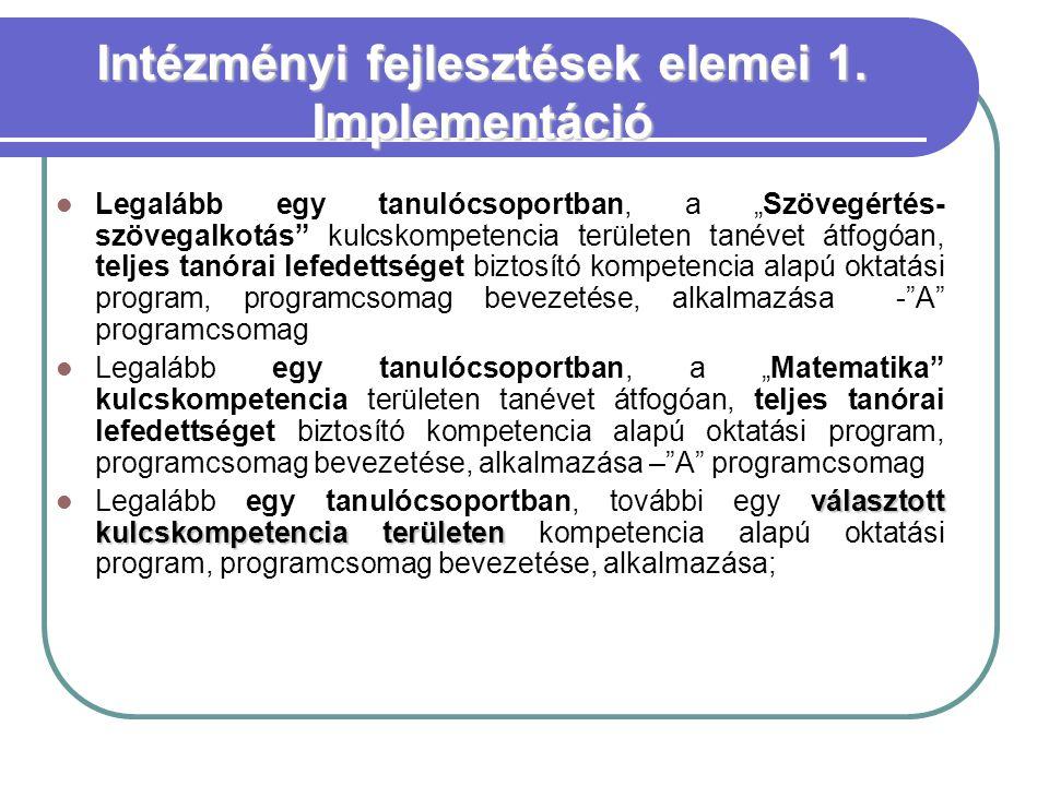 Intézményi fejlesztések elemei 1. Implementáció
