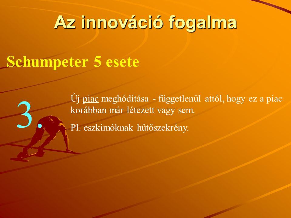 3. Az innováció fogalma Schumpeter 5 esete