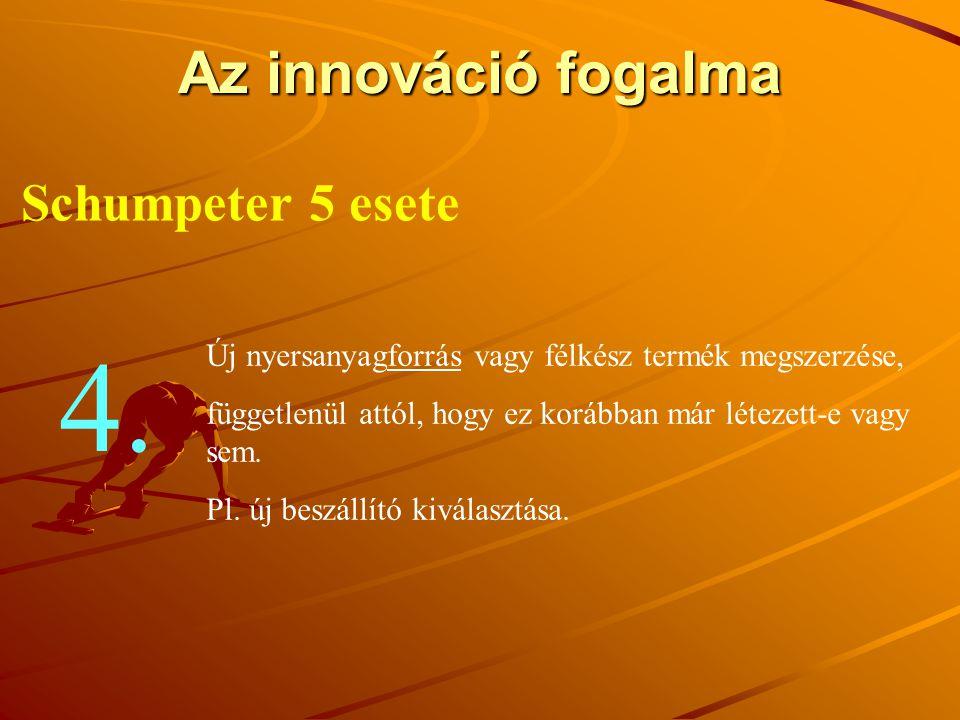 4. Az innováció fogalma Schumpeter 5 esete