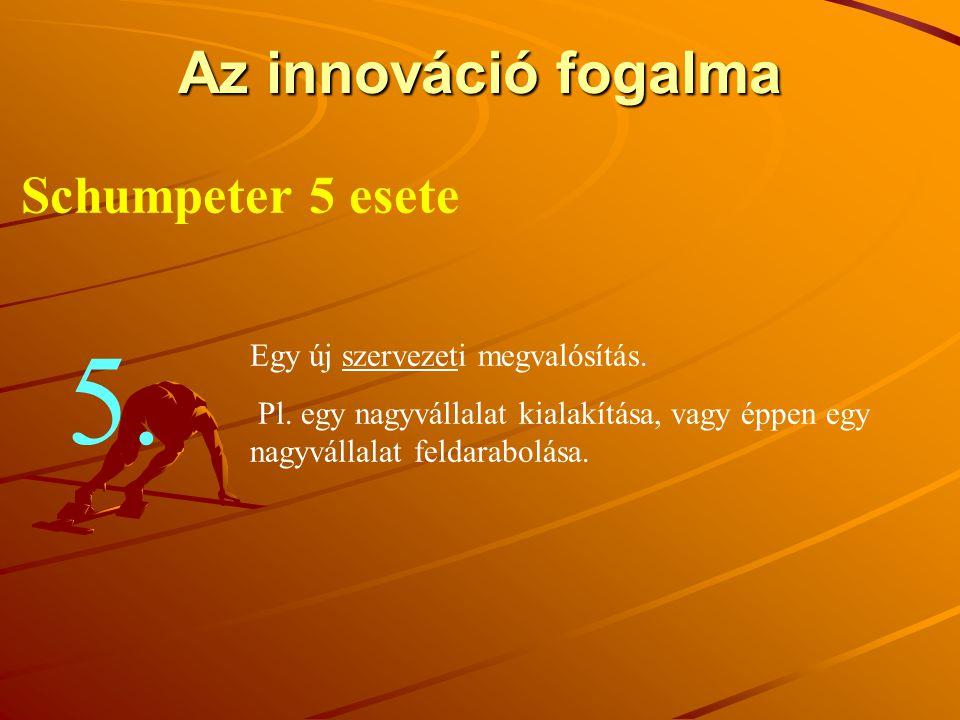5. Az innováció fogalma Schumpeter 5 esete