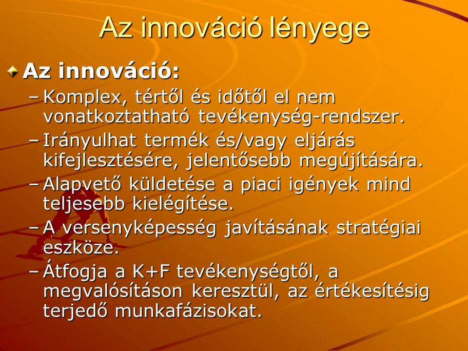Az innováció lényege Az innováció: