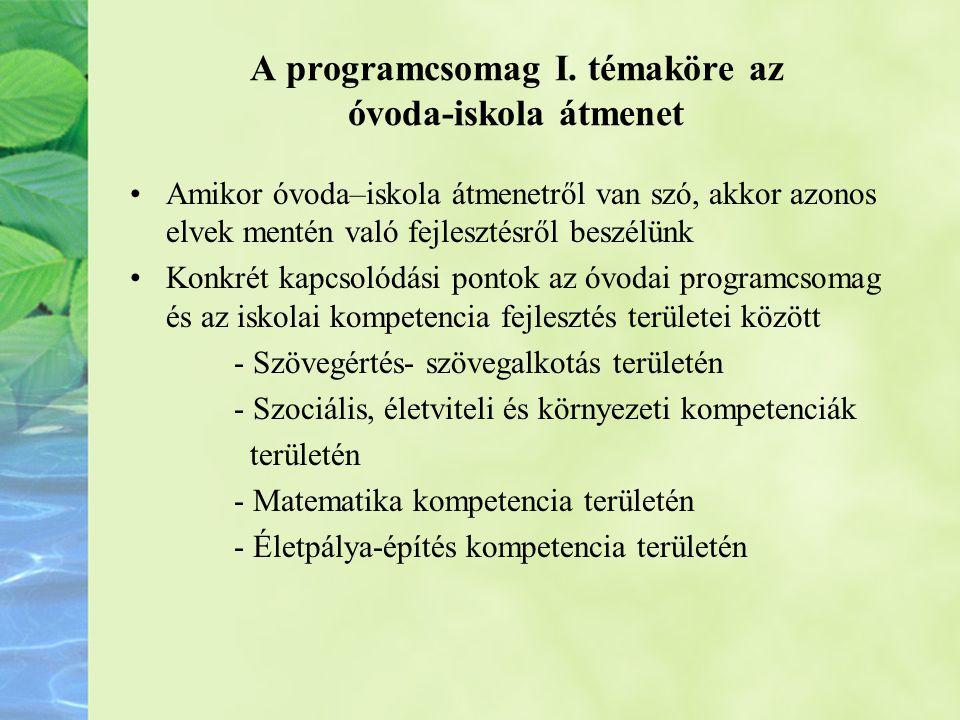 A programcsomag I. témaköre az óvoda-iskola átmenet
