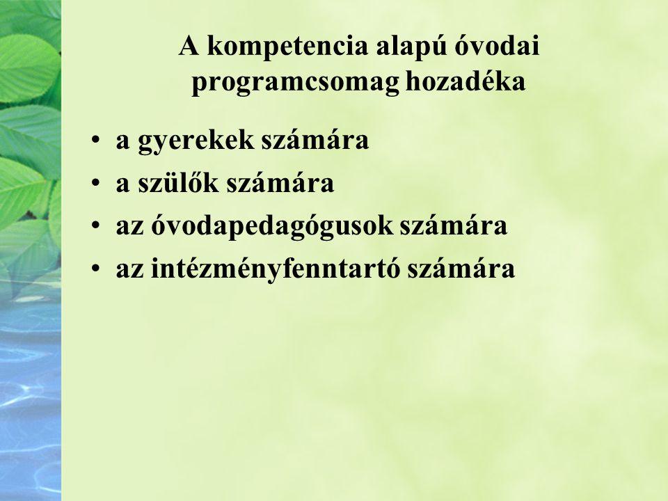 A kompetencia alapú óvodai programcsomag hozadéka