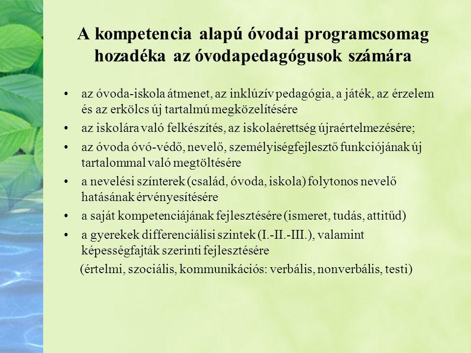 A kompetencia alapú óvodai programcsomag hozadéka az óvodapedagógusok számára