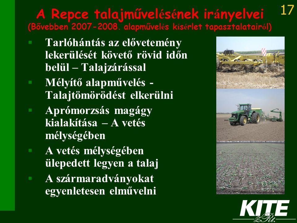 A Repce talajművelésének irányelvei (Bővebben 2007-2008