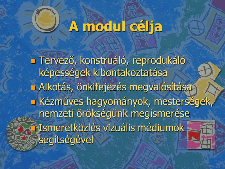 A modul célja Tervező, konstruáló, reprodukáló képességek kibontakoztatása. Alkotás, önkifejezés megvalósítása.