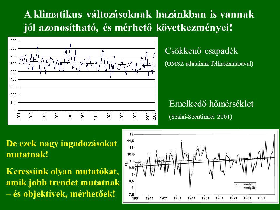 A klimatikus változásoknak hazánkban is vannak jól azonosítható, és mérhető következményei!