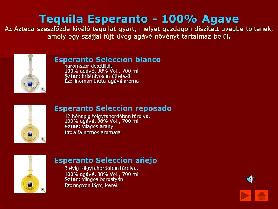 Tequila Esperanto - 100% Agave Az Azteca szeszfőzde kiváló tequilát gyárt, melyet gazdagon díszített üvegbe töltenek, amely egy szájjal fújt üveg agávé növényt tartalmaz belül.