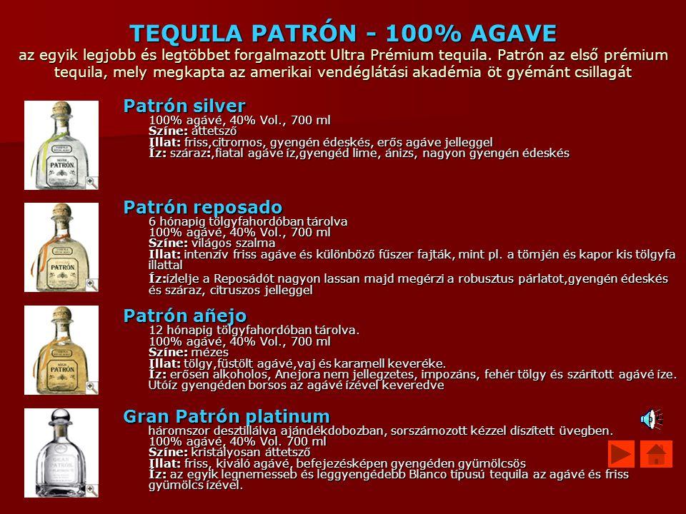 TEQUILA PATRÓN - 100% AGAVE az egyik legjobb és legtöbbet forgalmazott Ultra Prémium tequila. Patrón az első prémium tequila, mely megkapta az amerikai vendéglátási akadémia öt gyémánt csillagát
