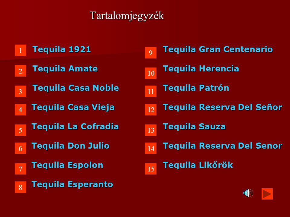 Tartalomjegyzék Tequila 1921 Tequila Gran Centenario