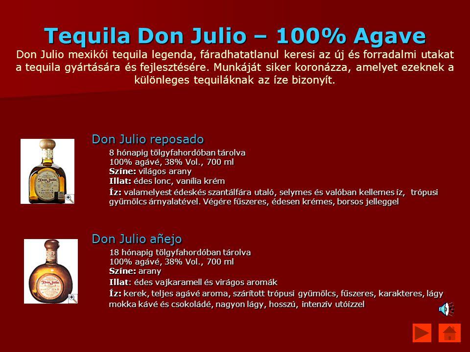 Tequila Don Julio – 100% Agave Don Julio mexikói tequila legenda, fáradhatatlanul keresi az új és forradalmi utakat a tequila gyártására és fejlesztésére. Munkáját siker koronázza, amelyet ezeknek a különleges tequiláknak az íze bizonyít.