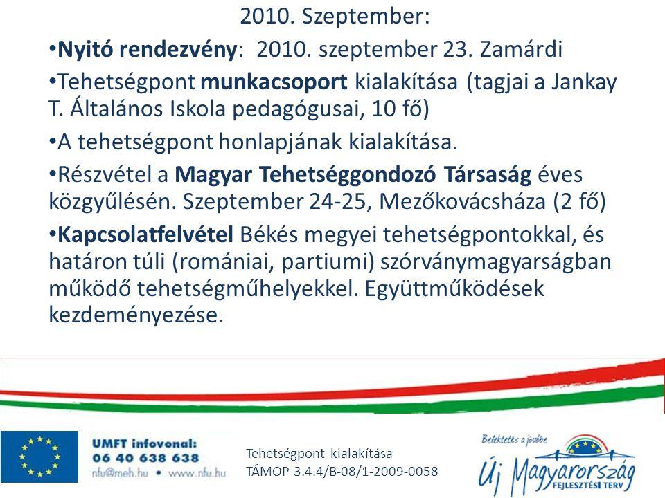 Nyitó rendezvény: 2010. szeptember 23. Zamárdi
