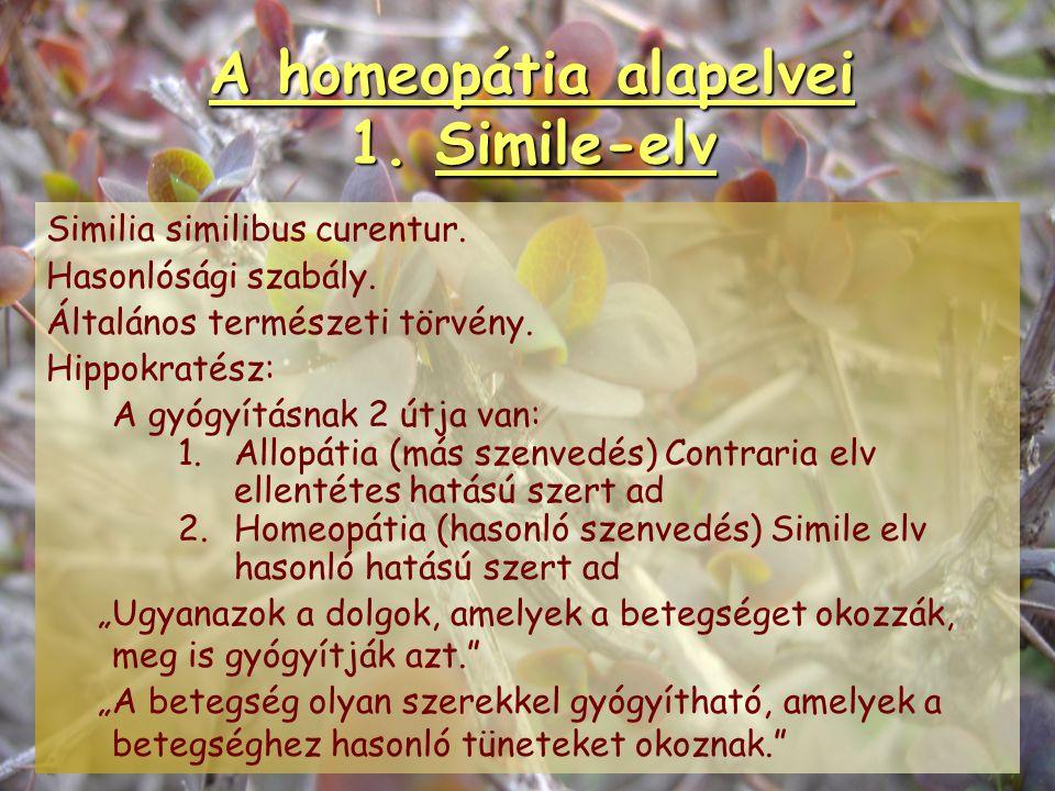 A homeopátia alapelvei 1. Simile-elv