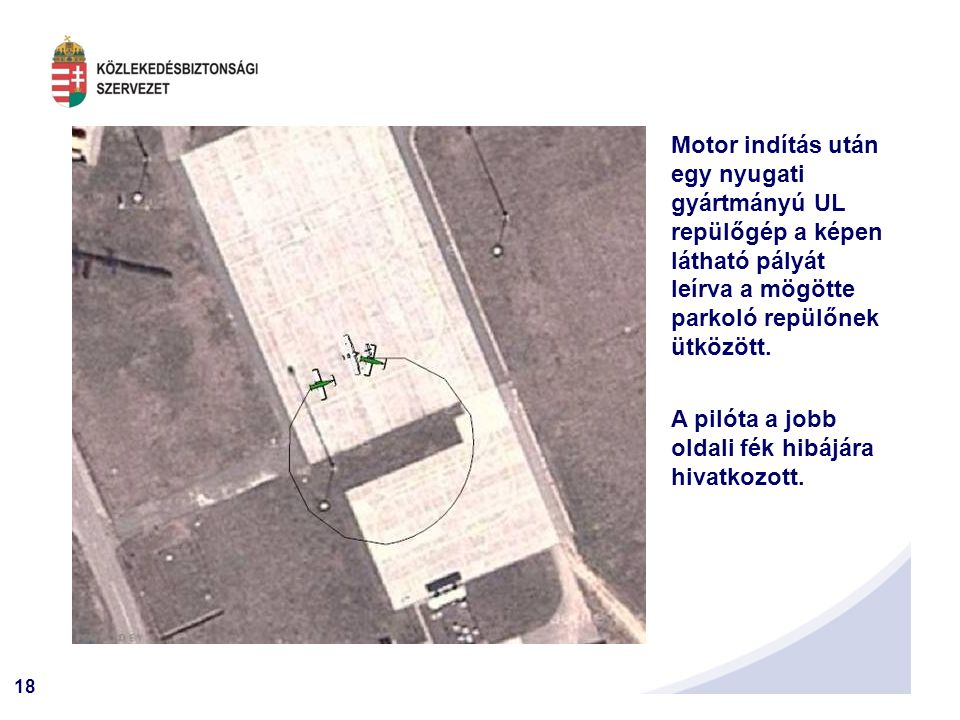 Motor indítás után egy nyugati gyártmányú UL repülőgép a képen látható pályát leírva a mögötte parkoló repülőnek ütközött.