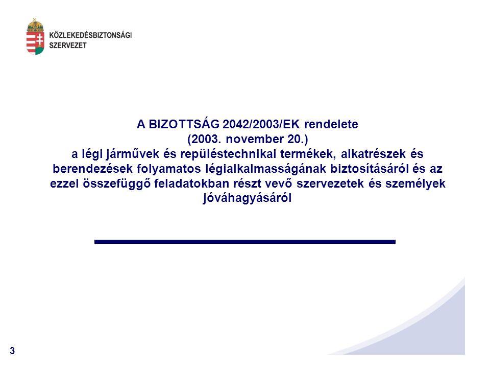 A BIZOTTSÁG 2042/2003/EK rendelete