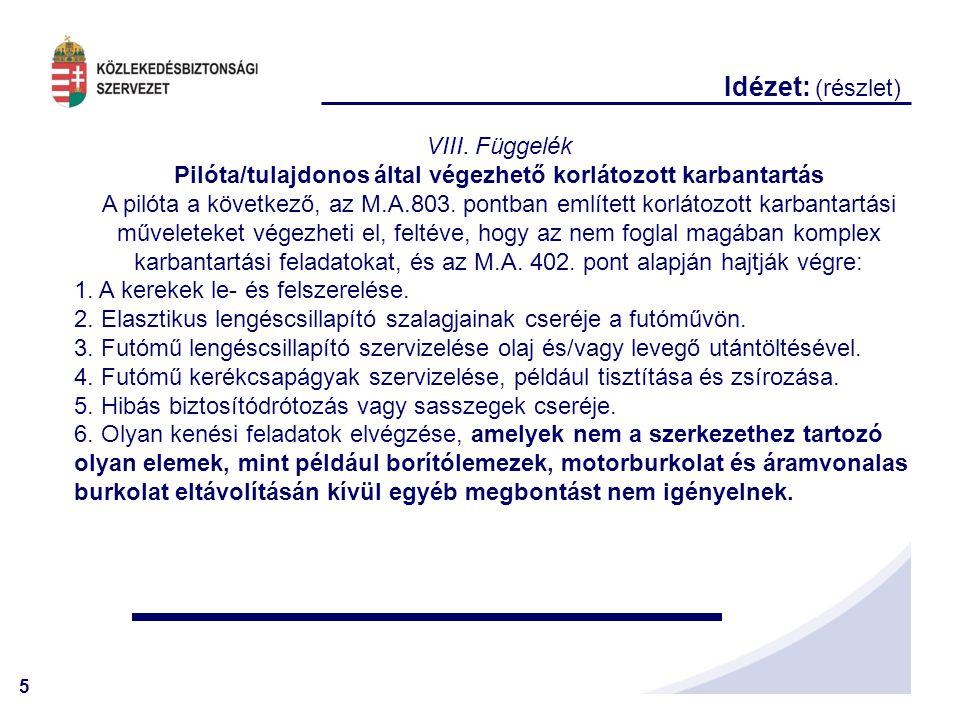 Pilóta/tulajdonos által végezhető korlátozott karbantartás