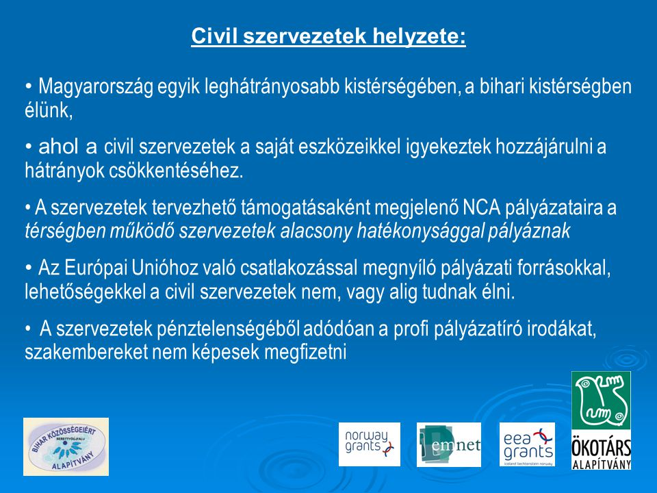 Civil szervezetek helyzete: