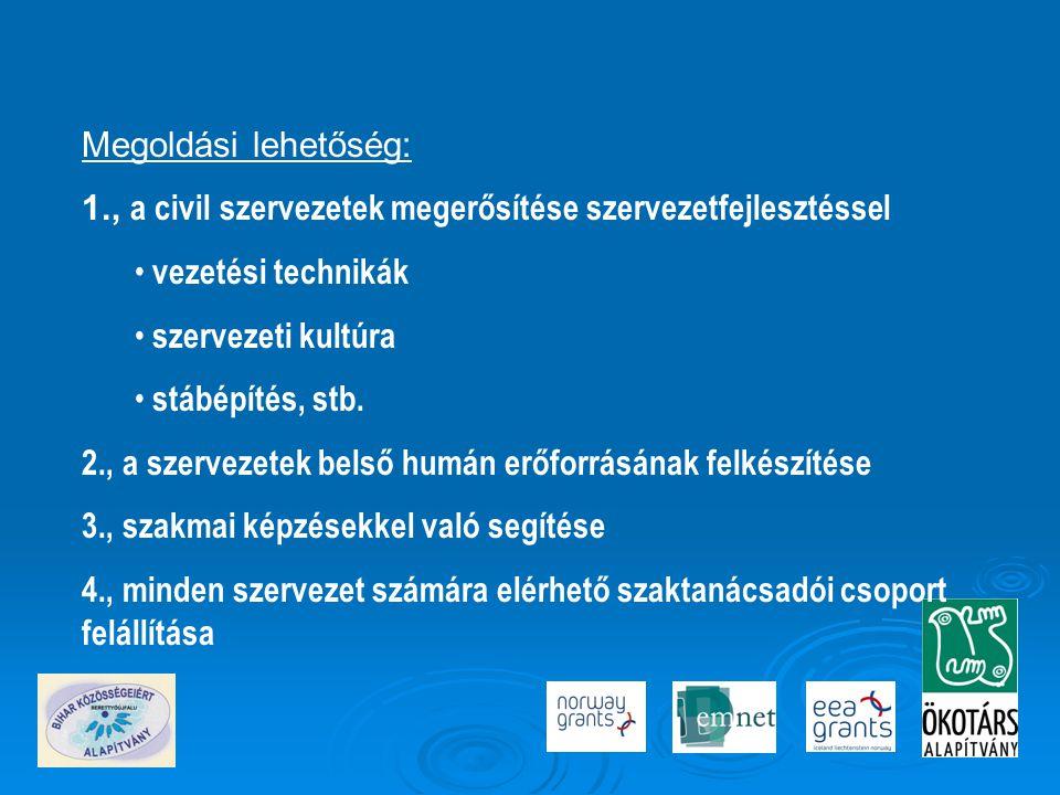 Megoldási lehetőség: 1., a civil szervezetek megerősítése szervezetfejlesztéssel. vezetési technikák.